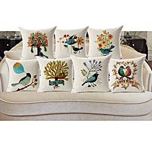 Honana 45x45cm Home Decoration Flower and Bird 7 Optional Patterns Cotton Linen Pillow Case
