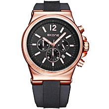 SKONE Brand Men's Multifunction Quartz Wrist Watches Silicone Strap Sport Watches Calendar Function Clock Male relogio masculino (Black) BDZ