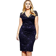 97a863f1f Plus Size Women Lace Dress Midi Dresses Sexy Hollow Out V Neck Slim Fit -  Azul