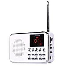 FM AM Mini Radio Digital LCD Speaker MP3 Music Player AUX USB TF With LED Light White