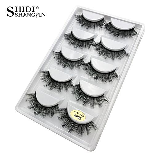 e991c367030 Generic 5 pairs false eyelashes natural 3D mink lashes makeup eyeextension  long mink eyelashes volume fake eye lashes cilio russian(G802)
