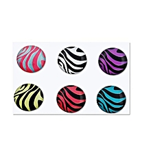 6 Pieces Zebra Patterns Home Button Sticker for Apple iPhone 4S
