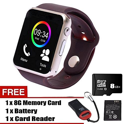 A1 Smart Watch with Call / Cam/ Bluetooth Wireless Connect For Android &  iOS (Brown) XJMALL
