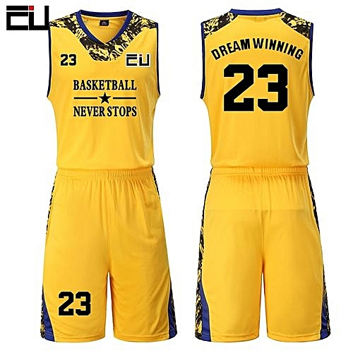 2bc46b723 Eufy High Quality Men s Customized Team Basketball Sport Jersey Uniform -Yellow(JY-1622)