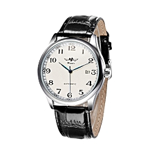 Simple Hand-winding Mechanical Watch Comfortable Leather Strap Fantastic Unisex Wristwatch with Calendar