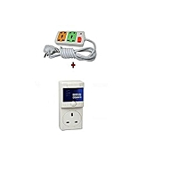 Fridge Guard 5A AVS Refrigerator voltage protector Surge Protector + Free 4way fused extension .
