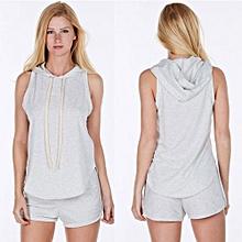 Women Hooded Sweat Suits - Gray