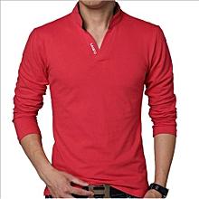 Good Quality Plus Size 5XL Autumn New Fashion Brand Long Sleeve T Shirt Men Slim Fit Casual Cotton T-Shirt - Red