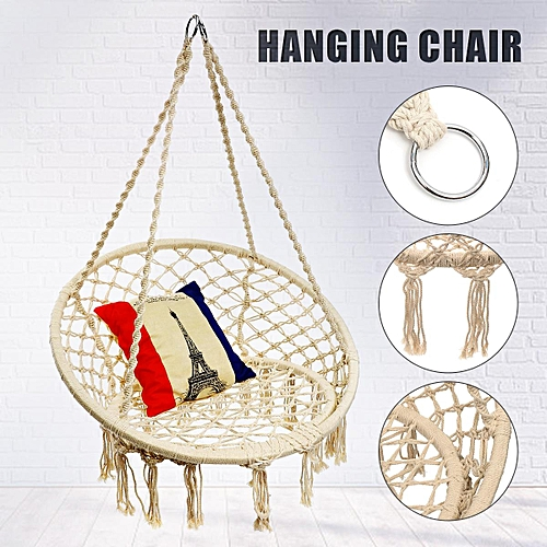 Generic White 60 80cm Ultimate Padded Mesh Hanging Chair Cotton