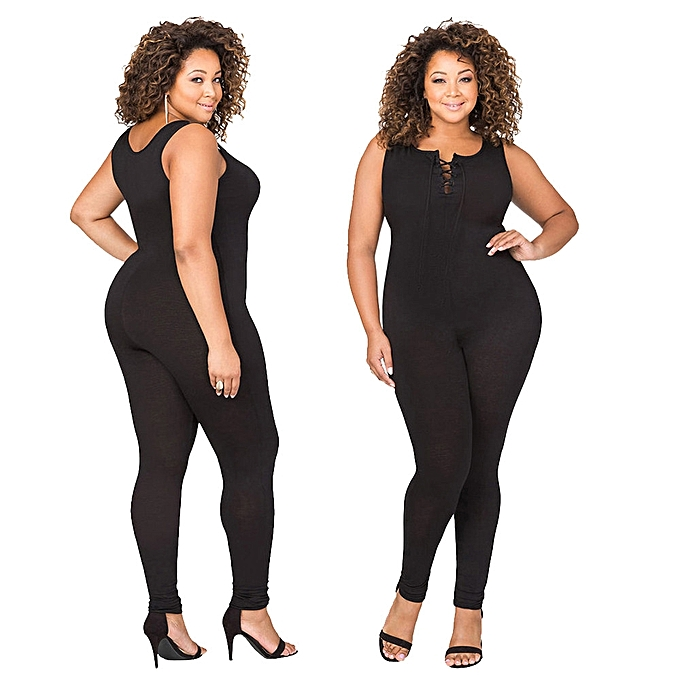 2deeacc4e71 jiuhap store Sexy Women Plus Size Design Bandage Bodycon Sleeveless Jumpsuit  Bodysuit Clothes- Black
