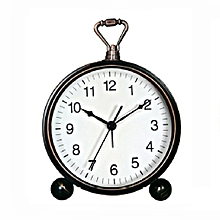 VST Silent Character Bedside Table Alarm Clock Wrought Iron Small Desk Clock