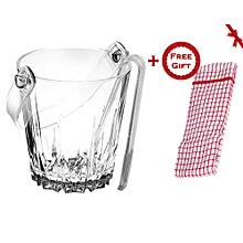 Karat Glass Ice Bucket with Tongs (+ Free Gift Hand Towel).