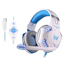 Neckband Headset Headphone Bluetooth HandsFree Fashion Sports Wireless Headphones G2200 - White Blue