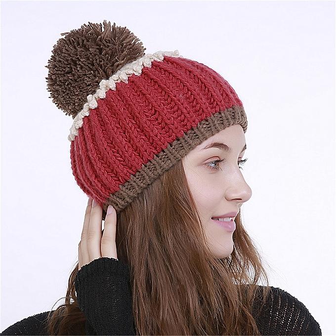 1e3156ec4 meibaol store Men's Women's Knit Wool Color Block Beanie Winter Hat Ski  Crochet Cap Pom Pom