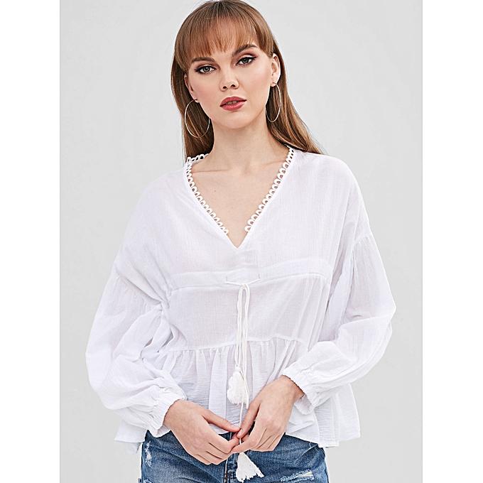19bbd45df436ff ZAFUL V Neck Drawstring Drop Shoulder Blouse,White @ Best Price ...