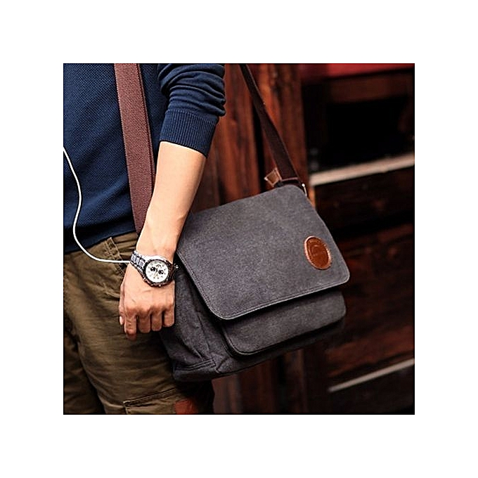 4f257d5ca0c8 ... bluerdream-Men Vintage Canvas Messenger Shoulder Bag Crossbody Sling  School Bags Satchel BK-Black