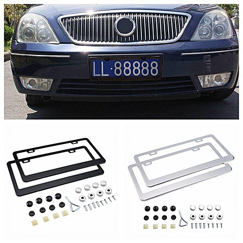 License Plate Frames Stainless Steel Car Licence Covers With S Caps 2 Pack