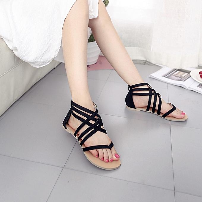 f23ed48b6a6cb6 Tectores Women Bohemian Flat Sandals Shoes Gladiator Flops Strap Flip Toe  ShoesGift ...