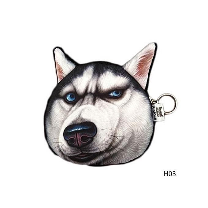 3D Cute Dog Face Husky Doge Zip Case Lovely Mini Wallet Card Coin Change  Purse