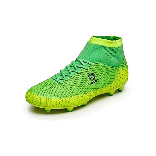 cf5ae83346b Generic Ankle Soccer Cleats Mens Football Boots High Top Turf Soccer Shoes  Football Cleats Football Shoes Indoor Boys Youth Sneakers Spikes - Green