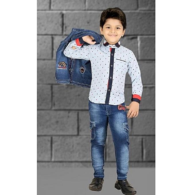 c1f6b2f2d RG - X-LLENT Boys Clothing Set of Blue Denim, Cotton Shirt & Jeans ...