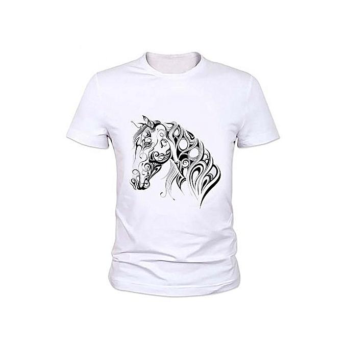 306e3e64fe Fashion Horse Hand Painted Printing T-shirt Funny Men Casual Short Sleeve  Tees Horse Animal