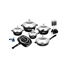 Italian- 22 piece Non-Stick DieCast Cooking Pots - Black