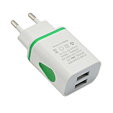 LED USB 2 Port Wall Home Travel AC Charger Adapter For S7 EU Plug GN-Green