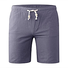 Spring Summer Men's Casual Cotton Linen Board Shorts Big Size Solid Color Beach Shorts