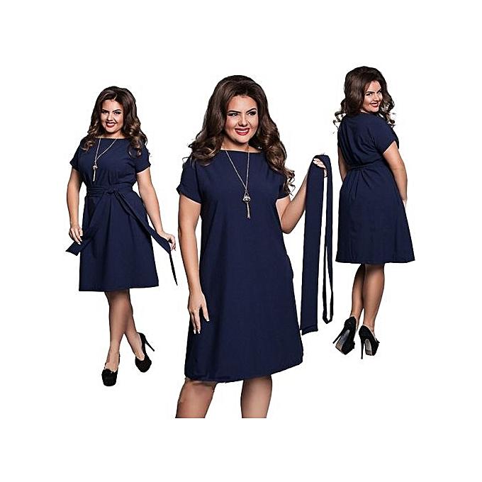 fb2d8468d509b Hot Sale Women Casual O-neck Solid A-line Plus Size Dress Slim Short Sleeve  Vintage Belted Knee Length Summer Dress-black