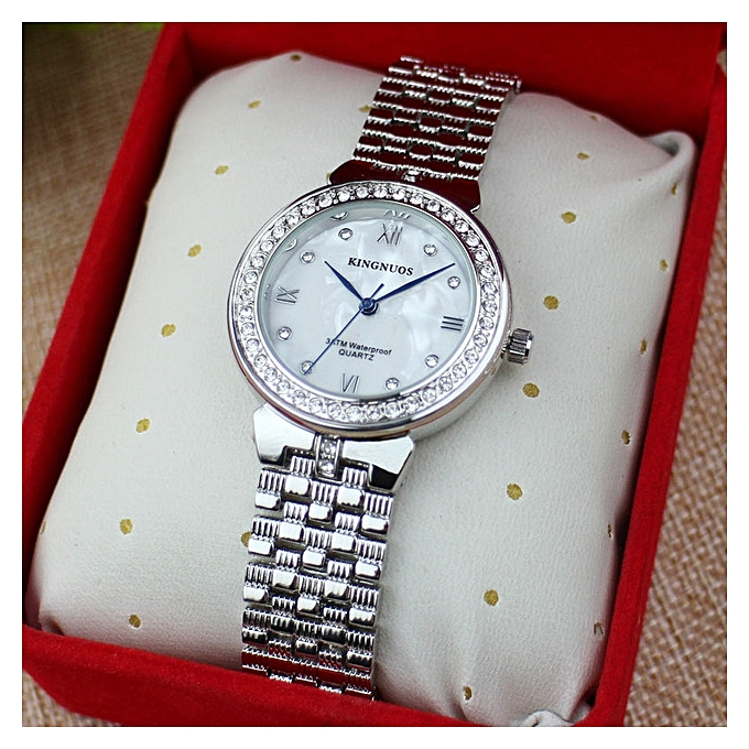 Kingnuos Luxury Women Watch Brands Crystal Sliver Dial Fashion