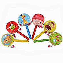 Wooden Rattle Pellet Drum Cartoon Musical Instrument Toy For Child Kids Gift-Random