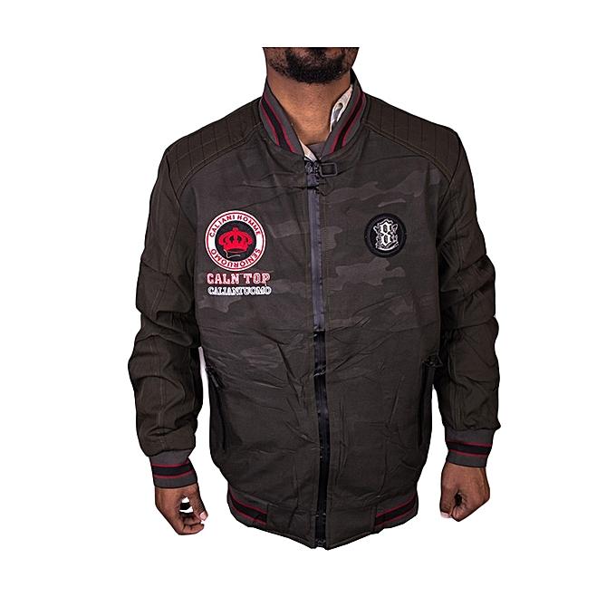 Bomber Jacket Zip-Up Fashionable Casual Latest -Dark Green
