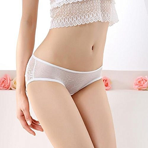 986aa81ab Fashion Wenrenmok Store Women Sexy Lace Red Panties Briefs Underwear Thongs  G-String Lingerie WH-White