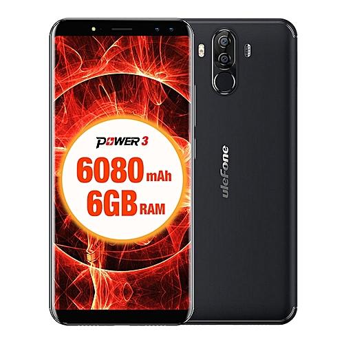 "POWER 3  6080mAh,(6GB RAM 64GB ROM) Helio P23 Octa Core, 6.0""Corning Gorilla Glass FHD+ ,(Quad Camera) Android 7.1 4G LTE Smartphone Black"