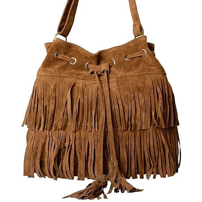 Buy sunshine women faux suede fringe bag shoulder handbags bag jpg 680x680  Brown fringe bag 950de92b23074