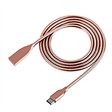 Universal 2 In 1 Charge + Sync Data Micro USB Cable Zinc Alloy Metal Spring Wire 1M Rose Gold