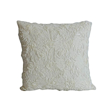 Rose Pattern Decorative Pillow - Large - White