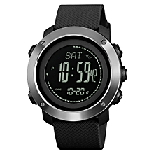 Men Smart Watch Outdoor Sports Digital Watch With Compass, Pedometer, Altimeter Stopwatch Dual Time 30M Waterproof Black