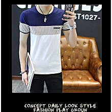 Refined New Men's Color Cross Bar Short Sleeve T-shirt Casusal O-neck Tops Tee-White