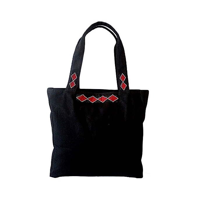 ce56fad609f MAASAI COLOUR Black Beaded Canvas Tote   Best Price   Jumia Kenya