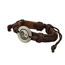 Women's Men's Wrap Eight Diagram Faux Leather Charm Multilayer Bracelet (Dark Brown)