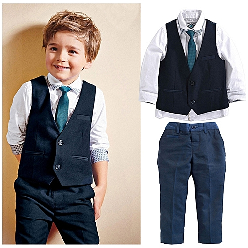 ff28305d9750 Fashion Wedding suits for baby boys 4 pieces set autumn children s leisure  clothing sets kids baby boy suit-black