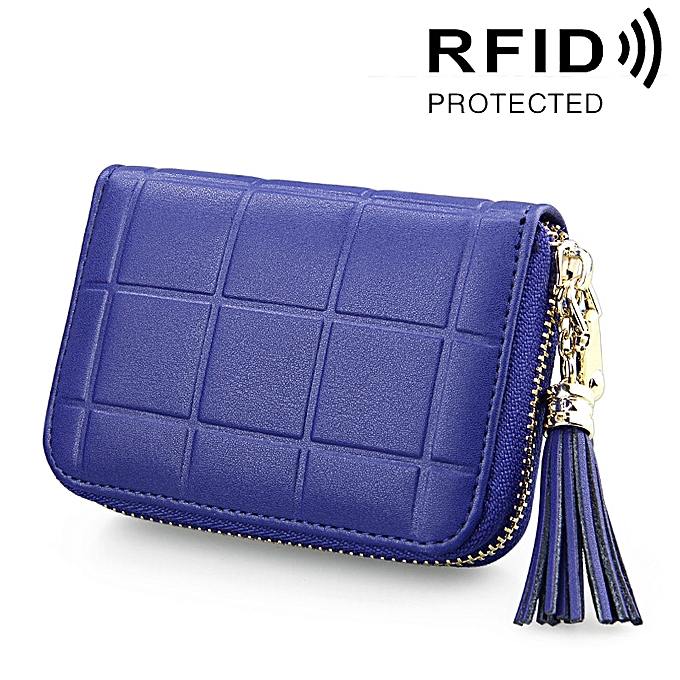 8744d8097 Genuine Leather Grid Texture Zipper Card Holder Wallet RFID Blocking Card  Bag Protect Case Coin Purse