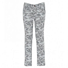 Grey Camo Boys Slim Fit Pants