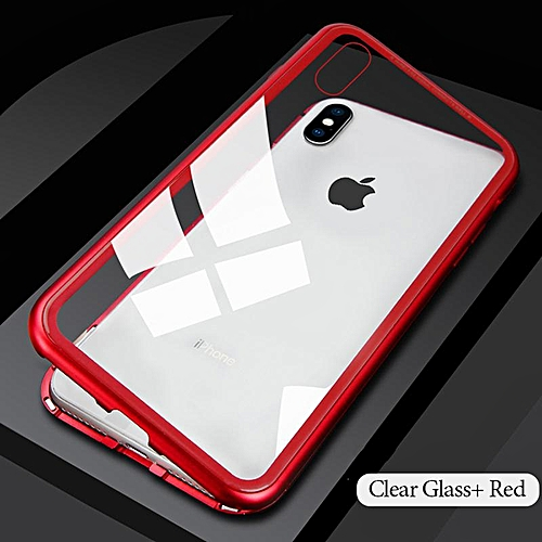 best sneakers e9d47 6afdd Magnet Metal Bumper Case For for iphone 8 7 Plus Magnetic  Adsorption+Tempered Glass Back Cover For IPhone 8 7 PLUS (Transparent Red)