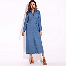 UK Womens Autumn Winter Casual Denim Long Sleeve Buttons Long Shirt Dress Plus