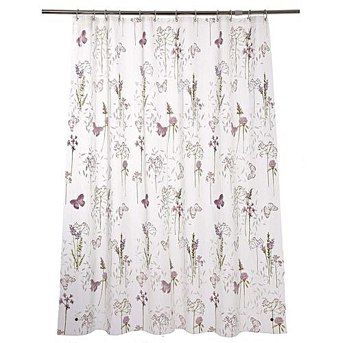 Generic Mildew Resistant Anti Bacterial PEVA Shower Curtain Printed Purple Flower Non Toxic Eco Friendly No Chemical Odor Rust Proof Grommets With 12