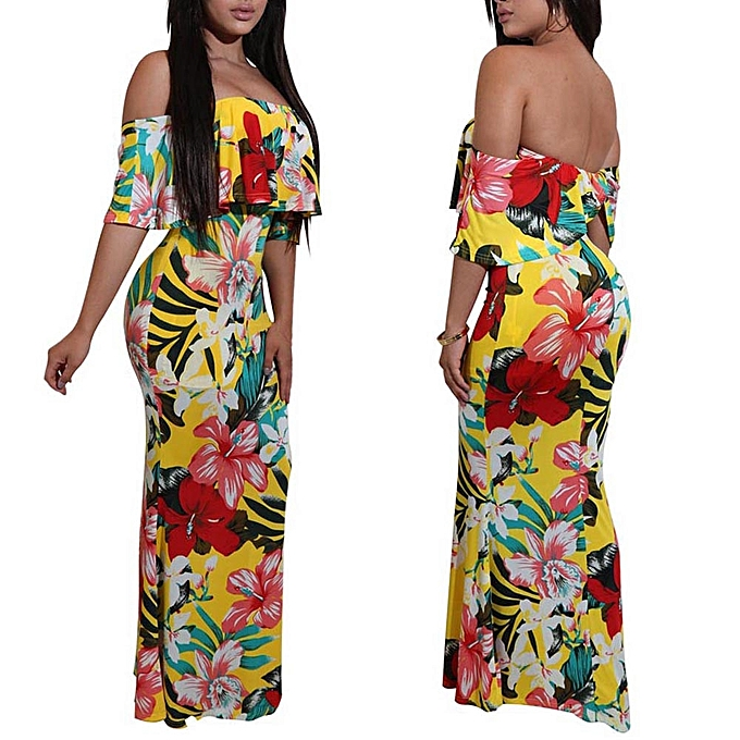 d375c925e387 Women Floral Long Maxi Dress Evening Party Summer Beach Sundress Off  Shoulder Lady Dress -Yellow