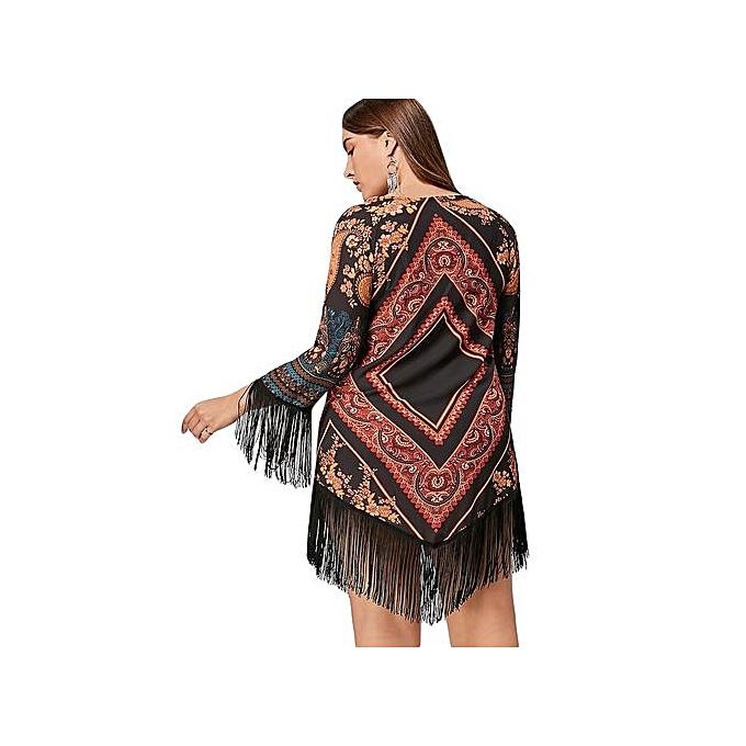 1d7cd451ca051 Fashion Plus Size Tribal Printed Chiffon Tassel Dress - FLORAL ...
